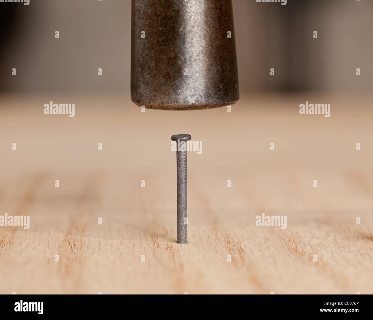 Nagel von Hammer ins Holz getrieben Stockbild