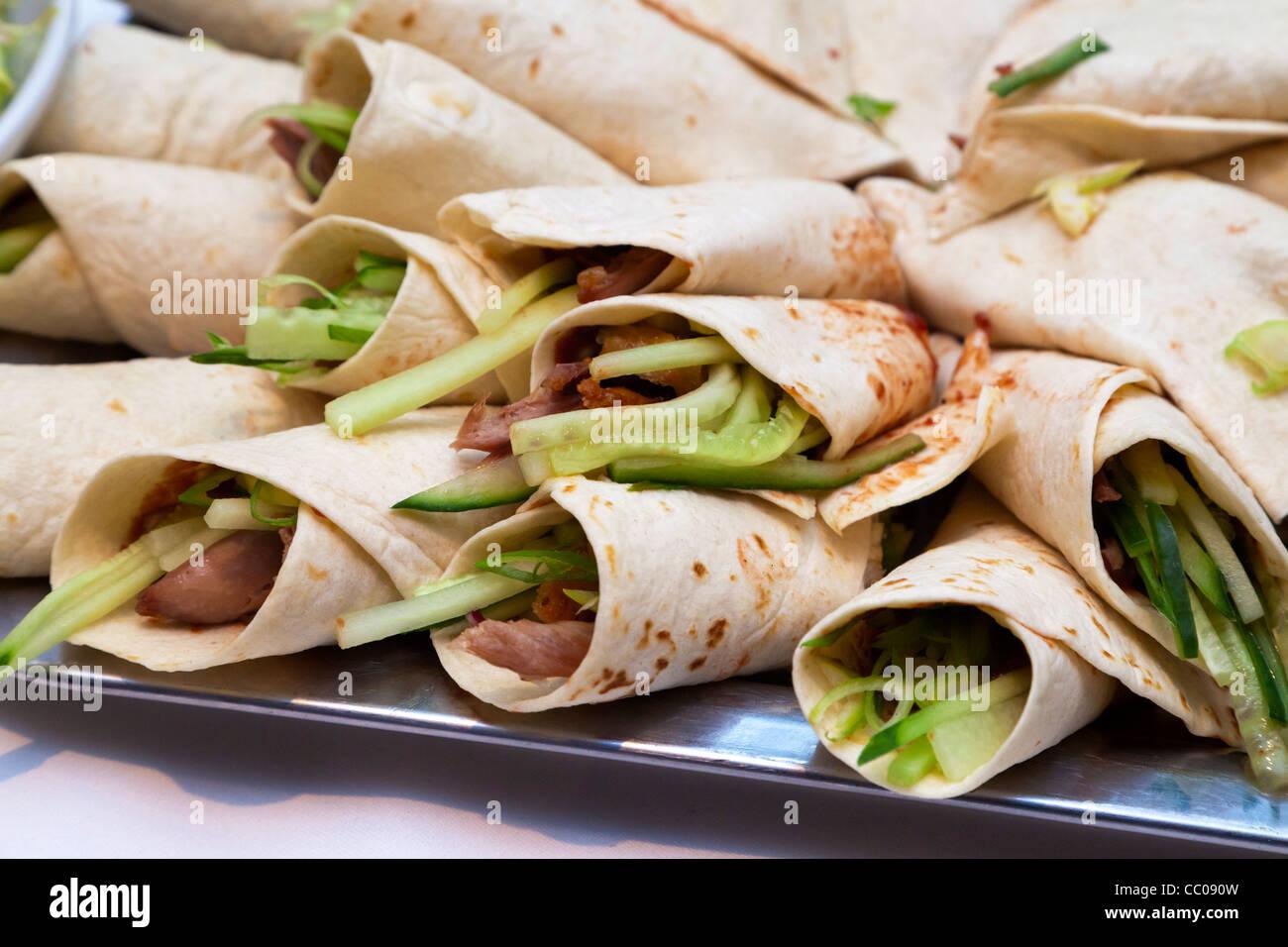 Pikante chinesische Pfannkuchen-wraps Stockbild