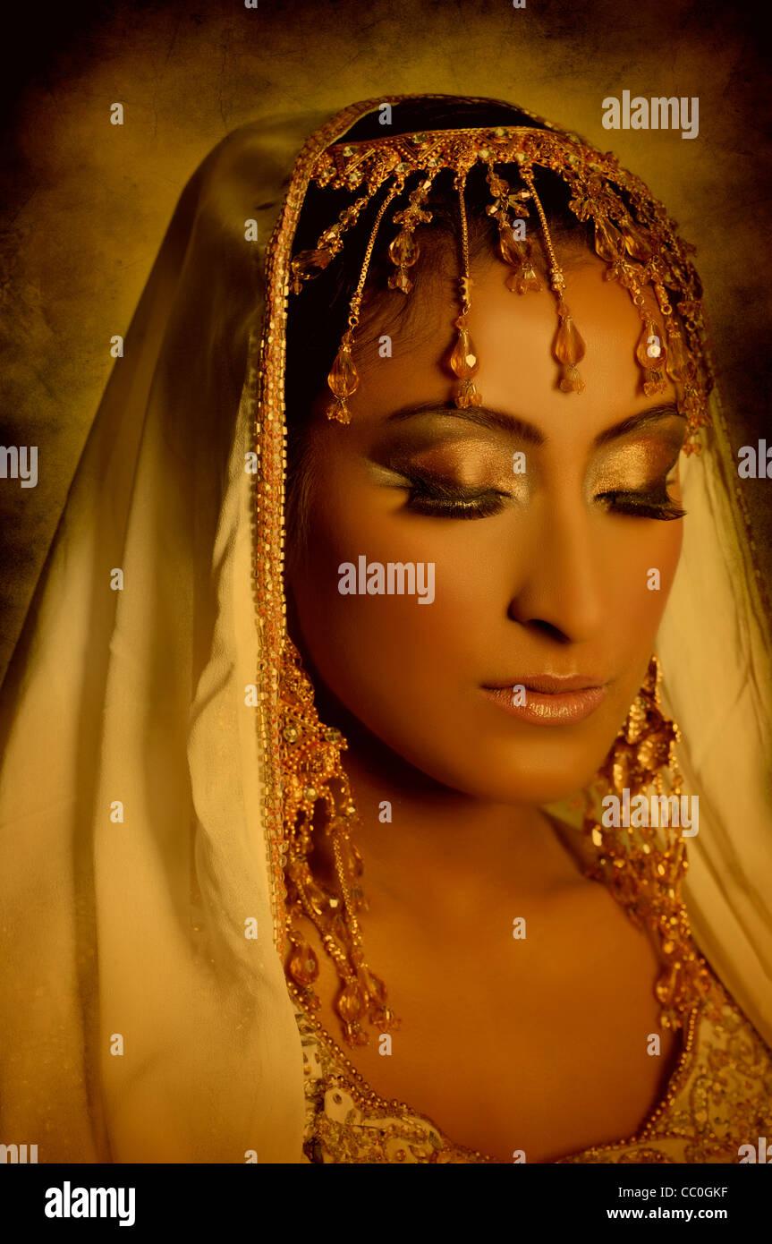 Schöne arabische Braut Stockbild