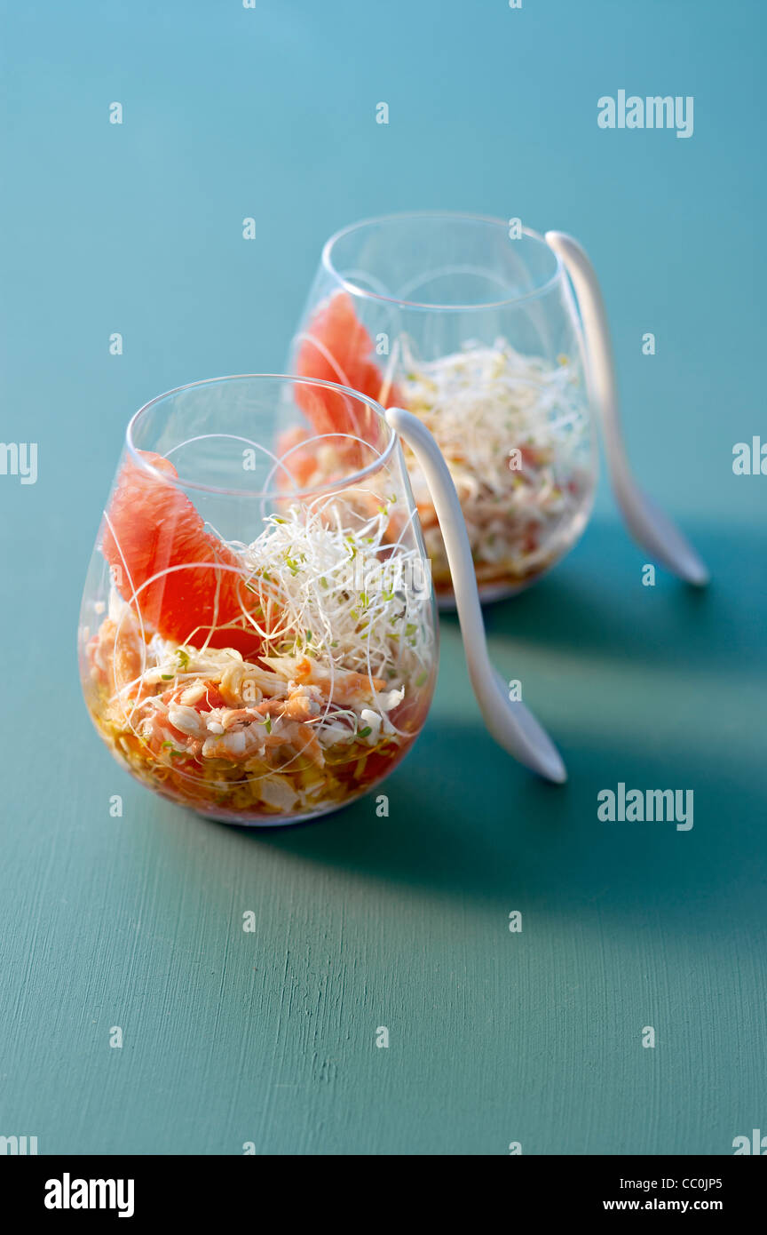 Krabben und Grapefruit Salat Stockbild