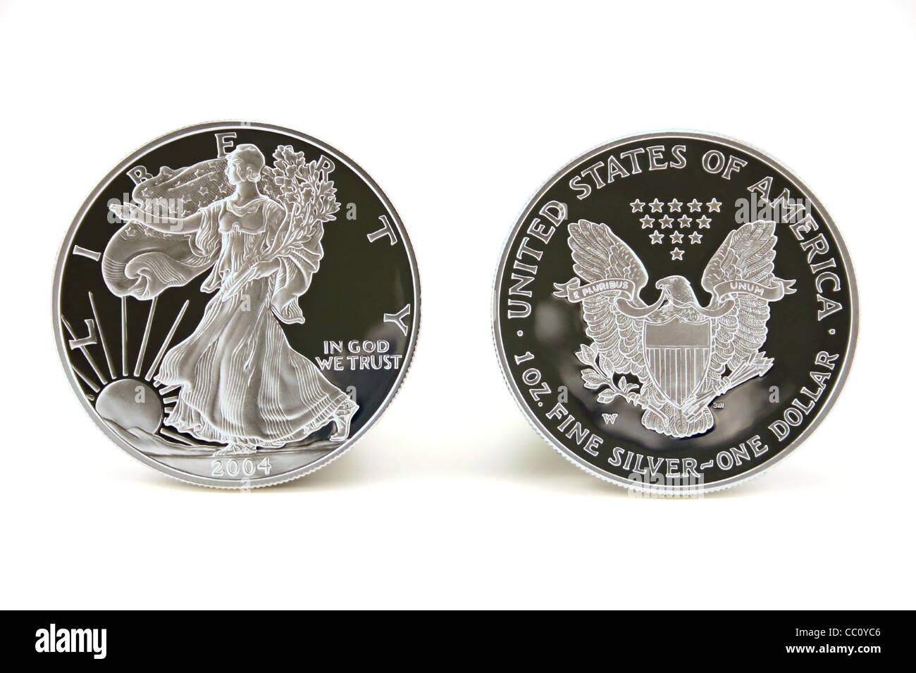 Zwei American Eagle Silber Bullion Coins Gesetzliches