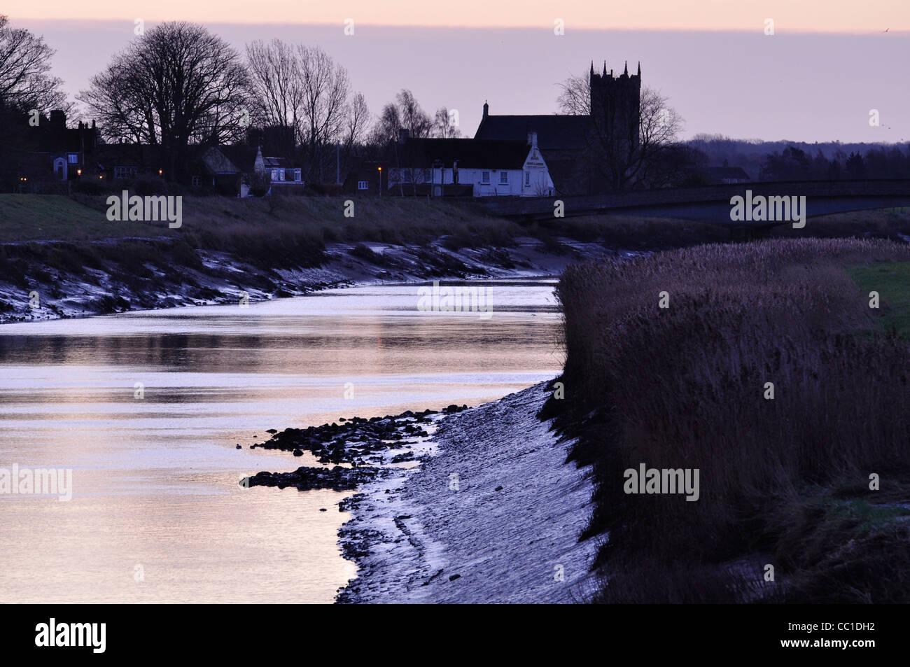 Wiggenhall St deutschen neben dem Fluss Great Ouse, Norfolk Stockbild
