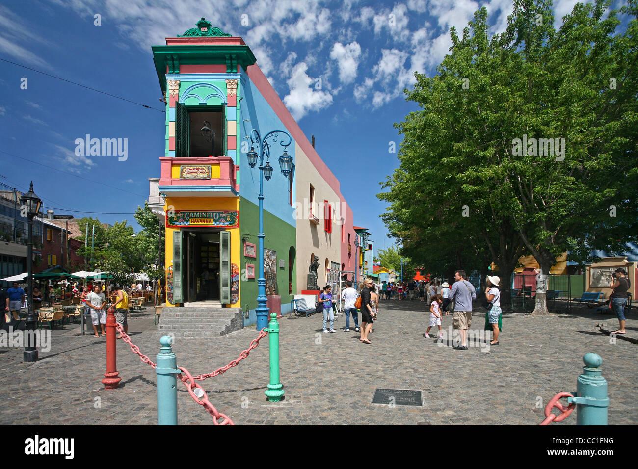 Der Caminito Tango Lore im Barrio La Boca, Buenos Aires, Argentinien Stockbild
