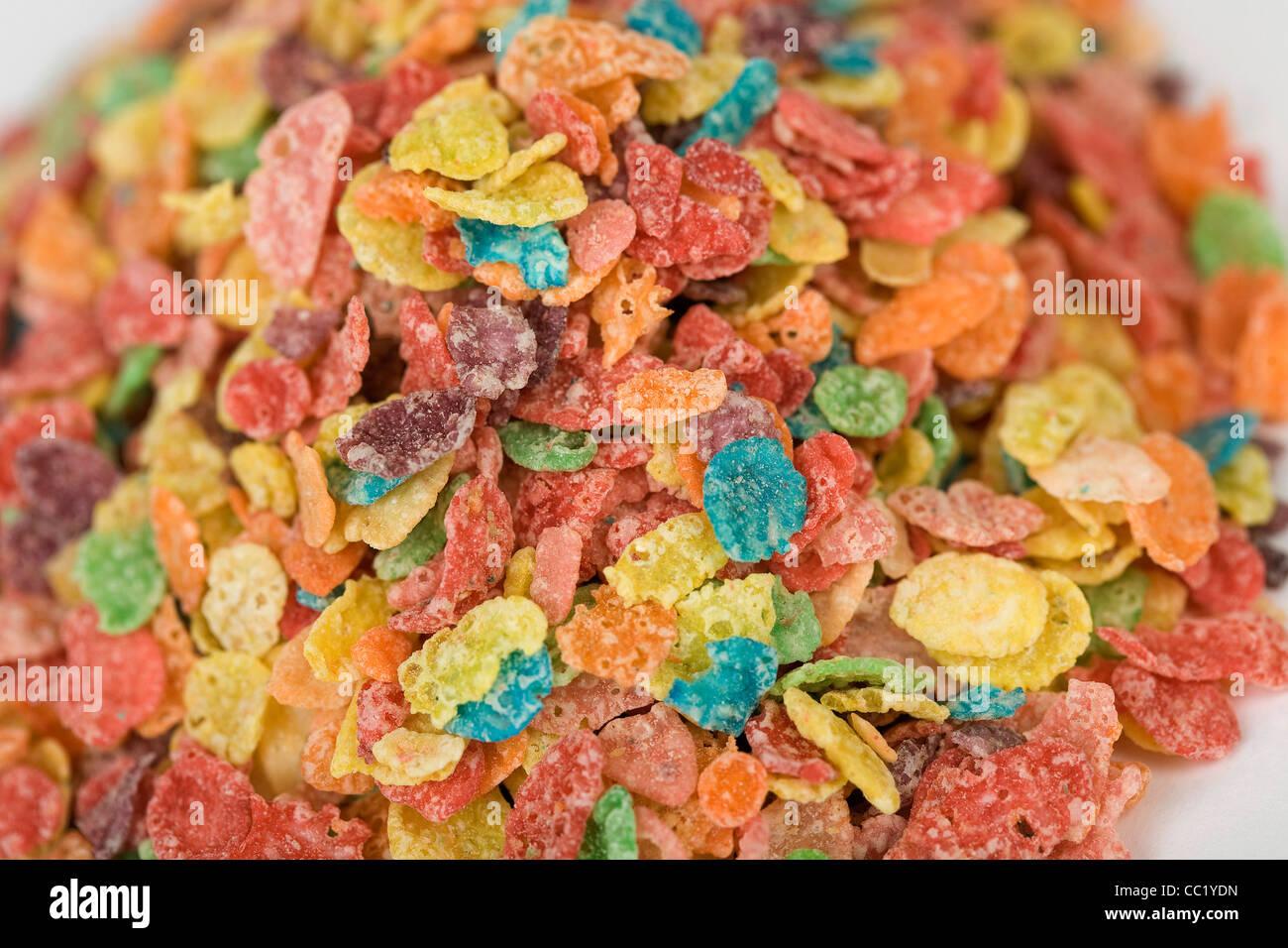 Fruchtige Kiesel-Frühstücks-Cerealien. Stockbild