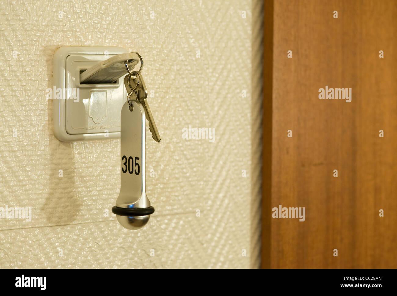 Eine energiesparende Zimmerschlüssel hotel Stockfoto