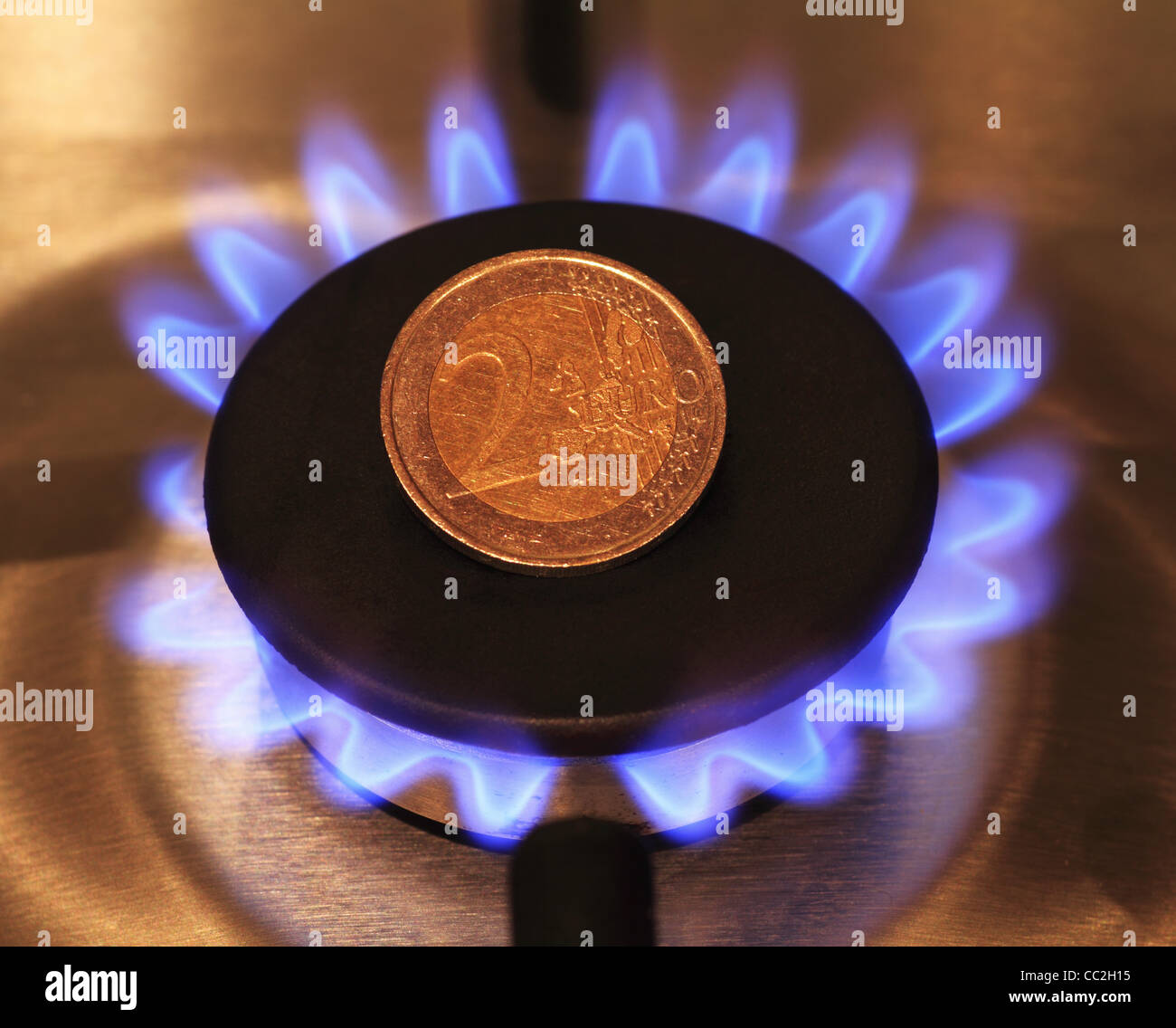 Eine 2 Euro Euro Münze Sitzt Auf Einem Natürlichen Brenner Gasherd