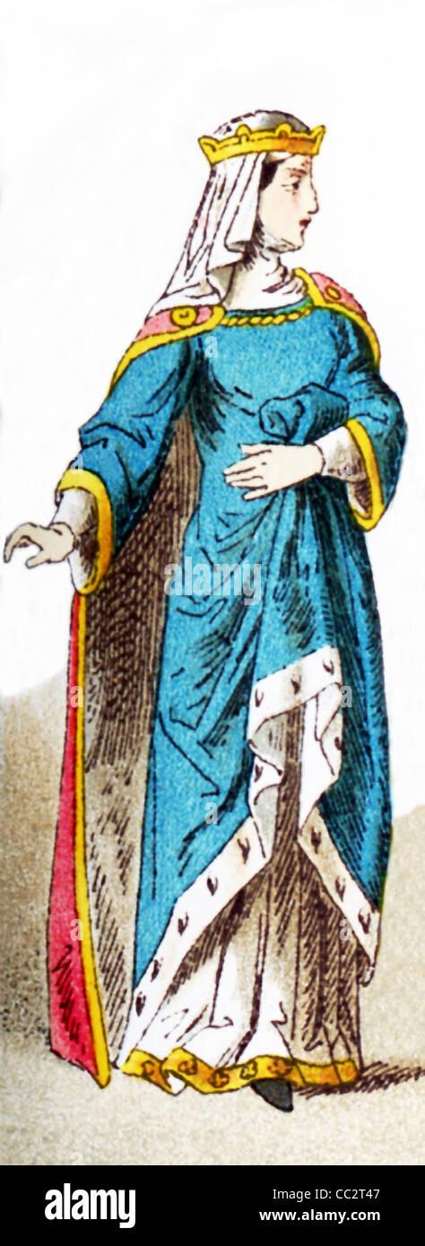 Die Figur, die hier dargestellt ist eine französische Prinzessin um 1300. Die Abbildung stammt bis 1882. Stockbild