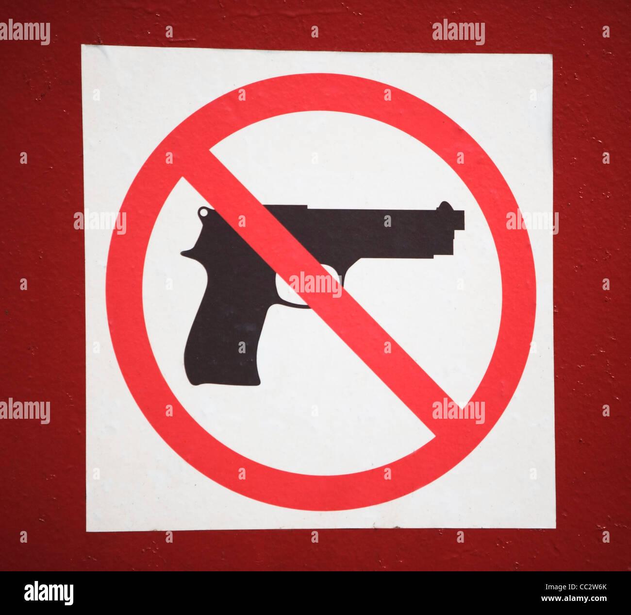 USA, New York State, New York City, keine Waffen erlaubte Zeichen Stockbild