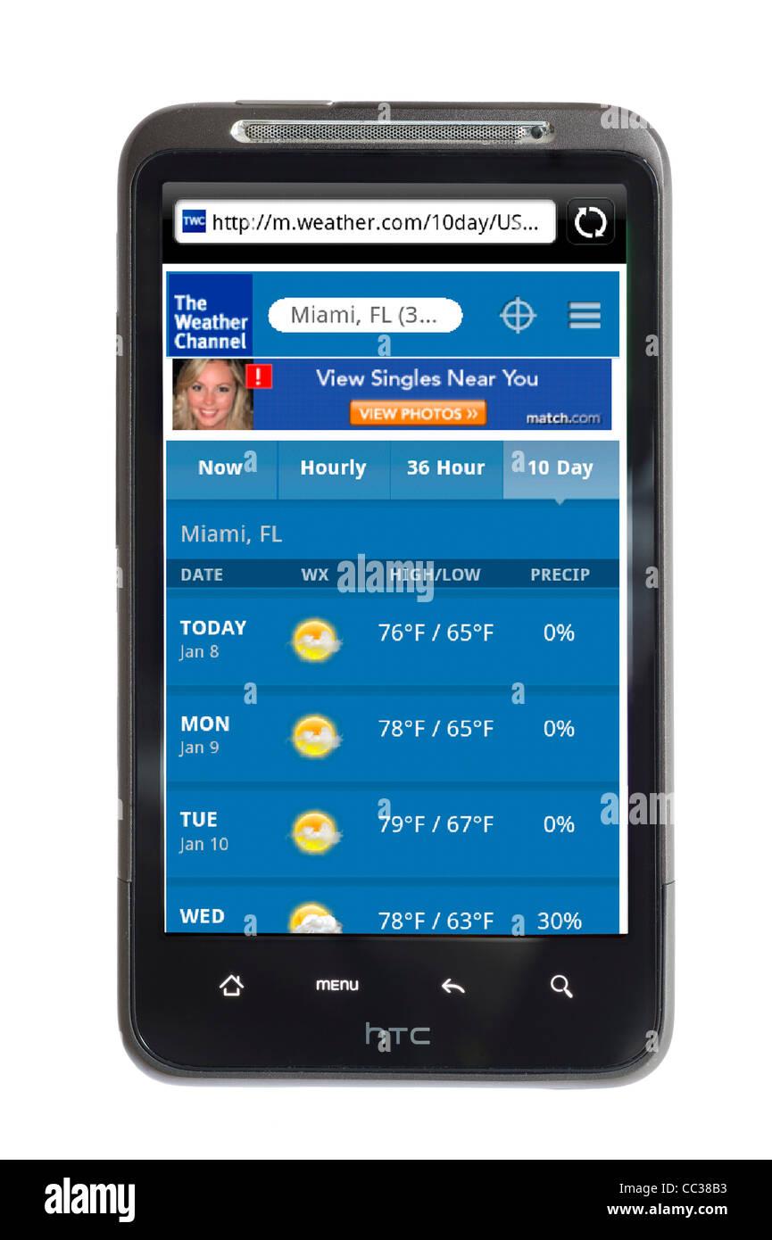 The Weather Channel auf einem HTC-smartphone Stockbild