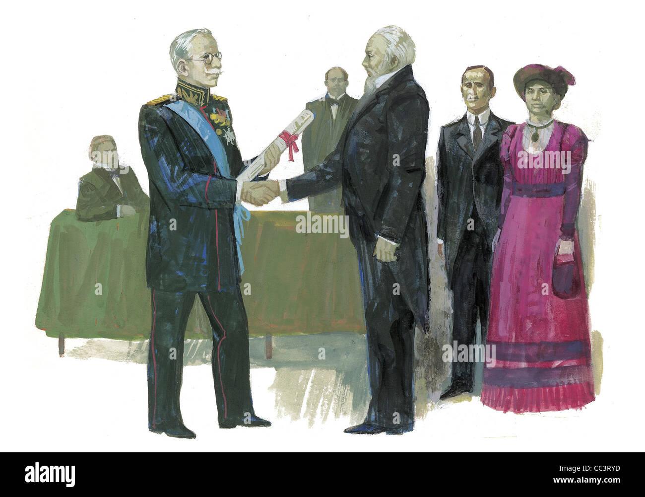 Schweden, 19. Jahrhundert. Alfred Bernhard Nobel (1833-1896), Wissenschaftler und Forscher. Dynamit erfunden und Stockbild