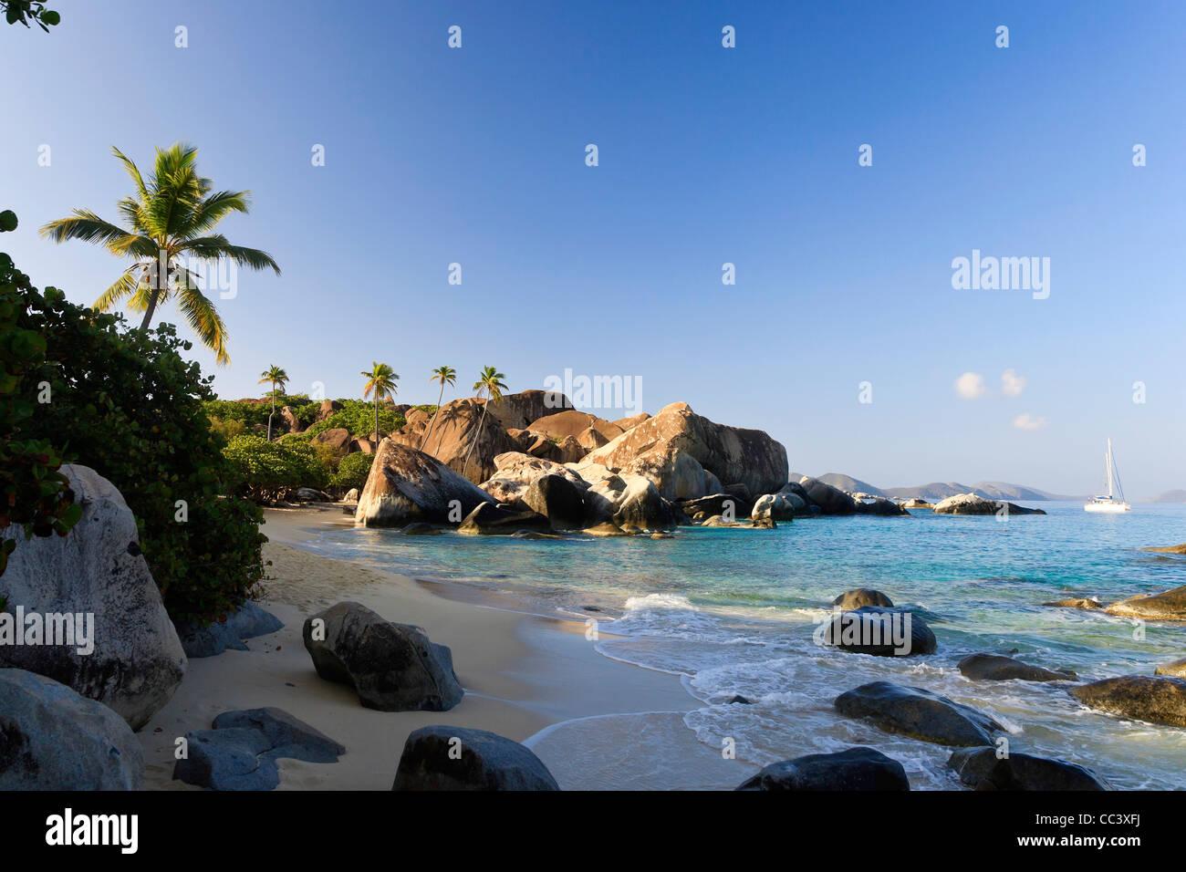 Karibik, Britische Jungferninseln, Virgin Gorda, Spring Bay National Park / Bäder Stockbild
