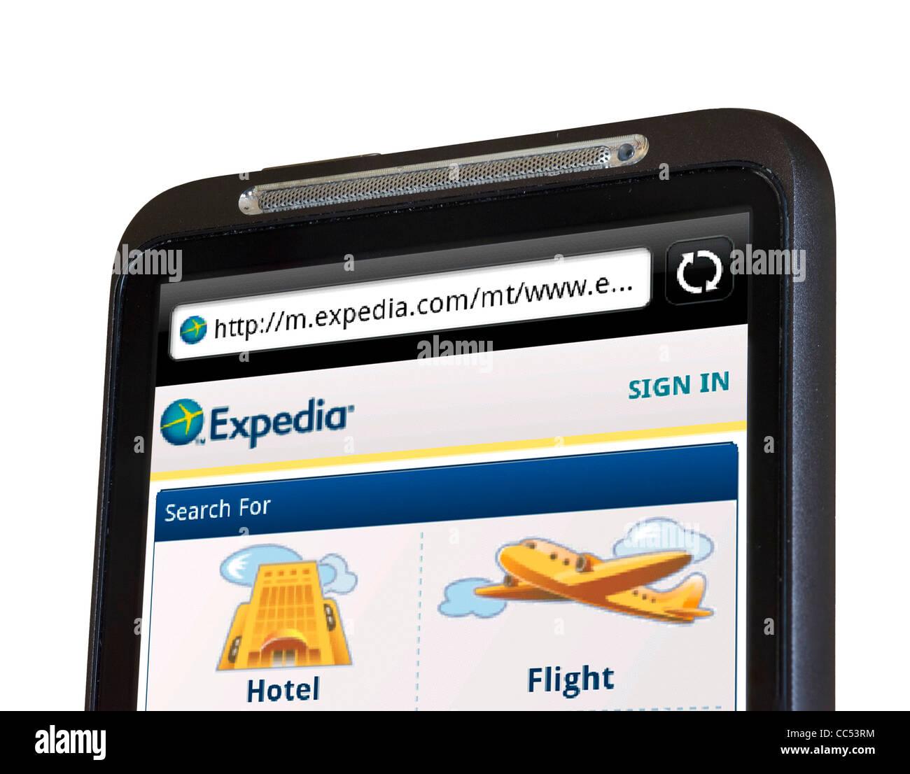 Expedia Reise-Website auf einem HTC-Smartphone Surfen Stockbild