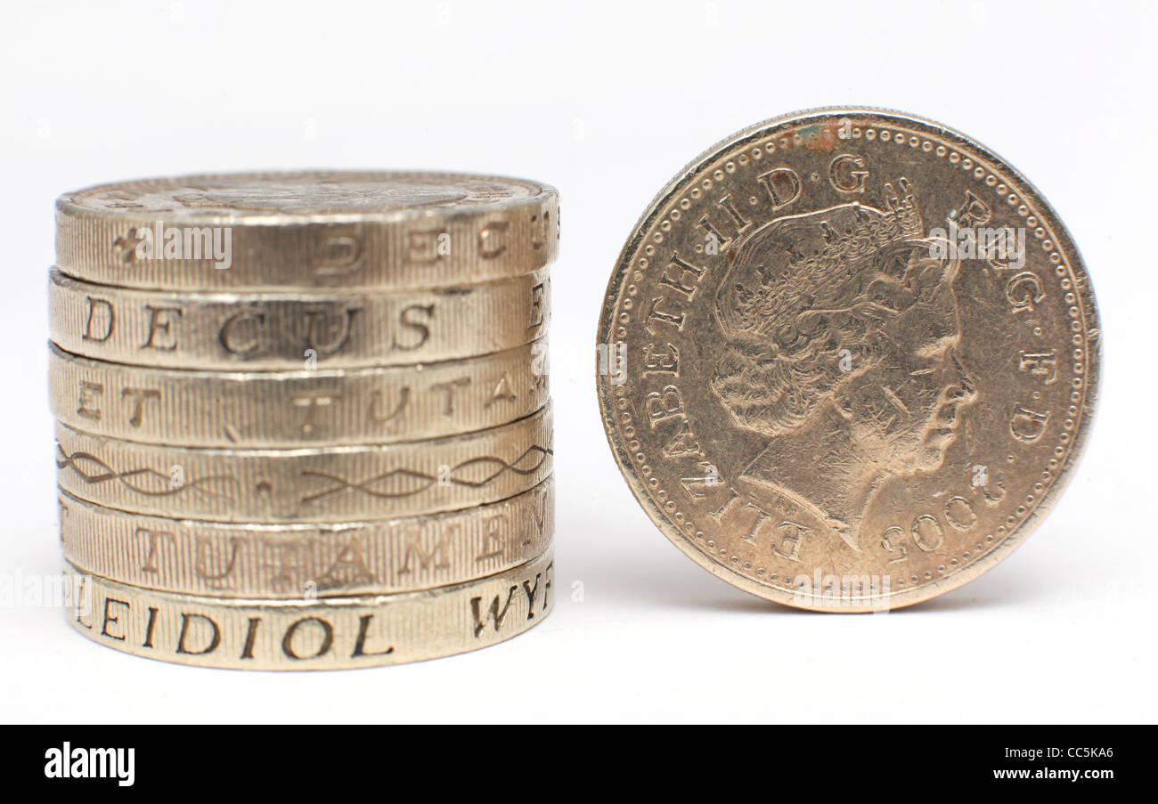 Ein Stapel Von 1 Pfund Münzen Bildern Kaufen Jamie Mann Stockfoto