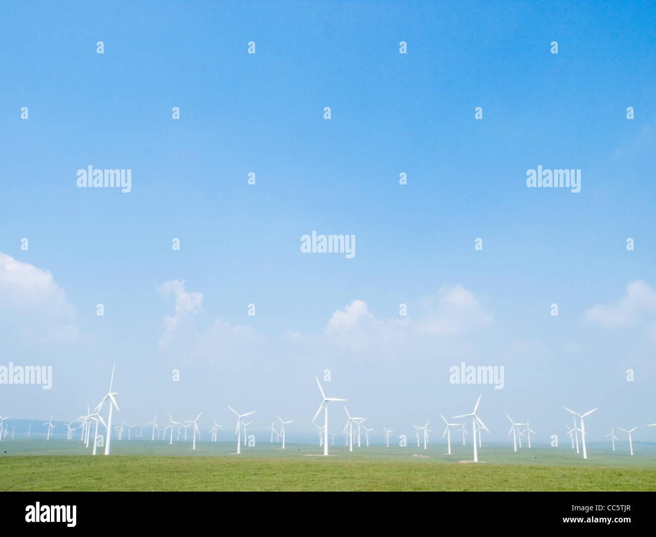 Windgenerator auf der Wiese, Hexigten globalen Geopark, Chifeng, Innere Mongolei, China Stockbild