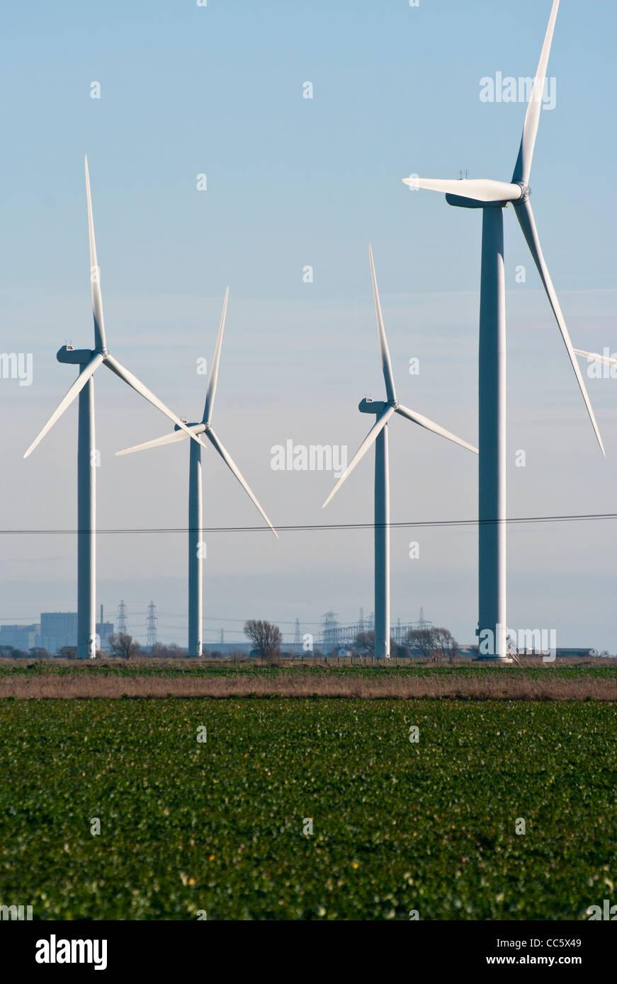 Wind-Turbinen an der NPower wenig Cheyne Gericht Wind Farm East Sussex UK alternative elektrische Energie Stockbild