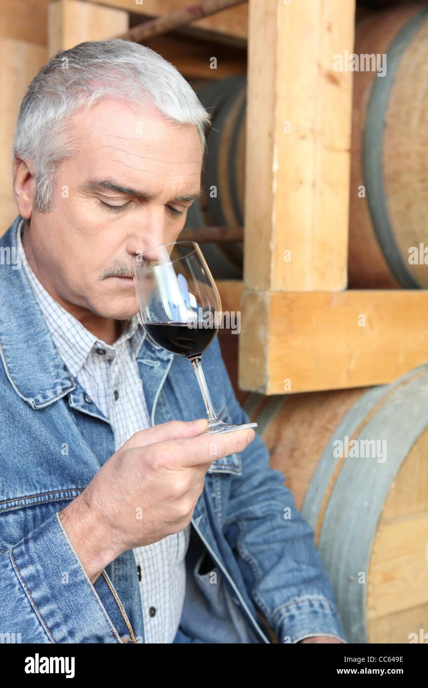 Man riecht Rotwein Stockbild
