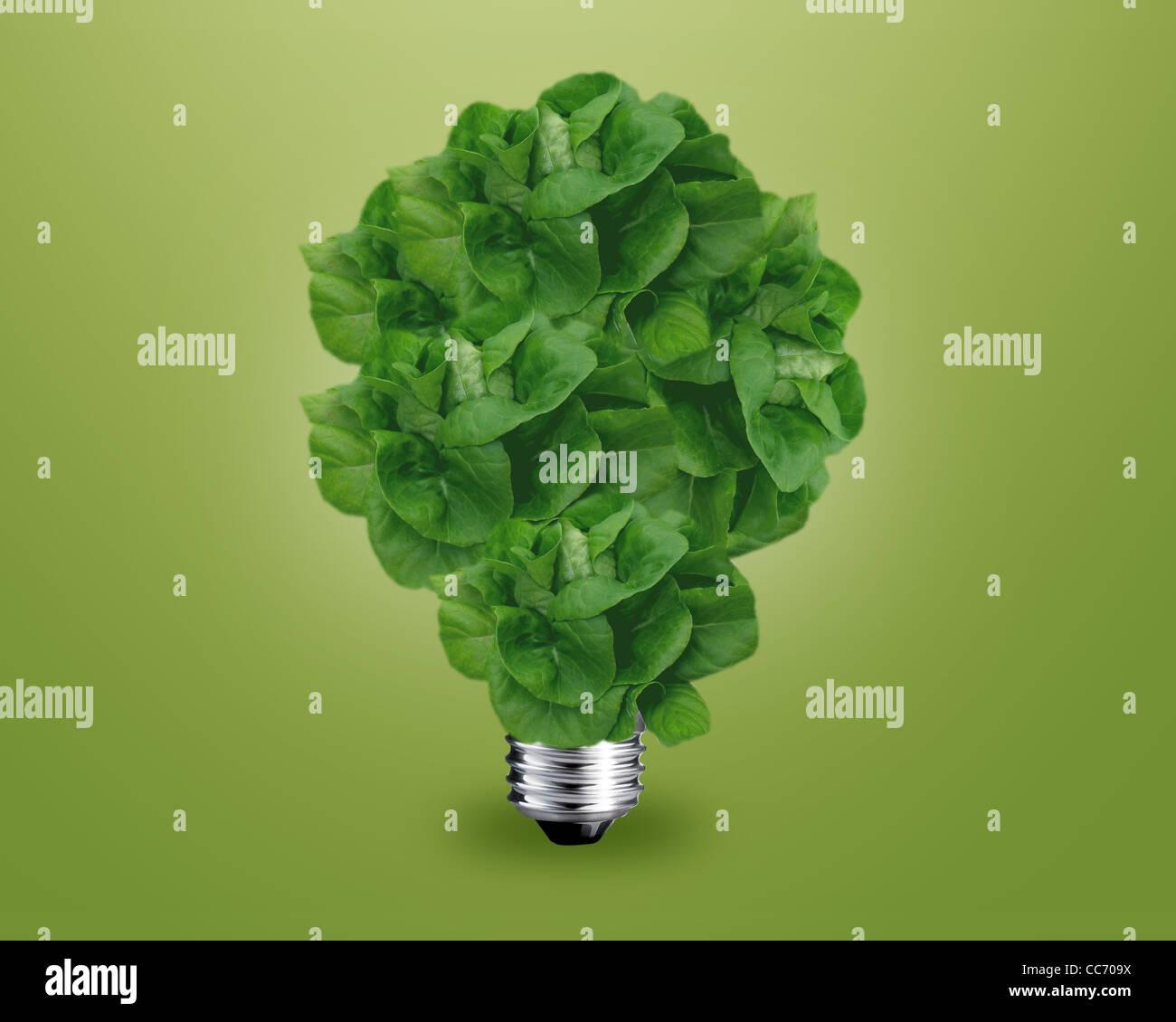 Ökologie-Konzept, grünes Licht Lampe wie ein Baum. Stockbild
