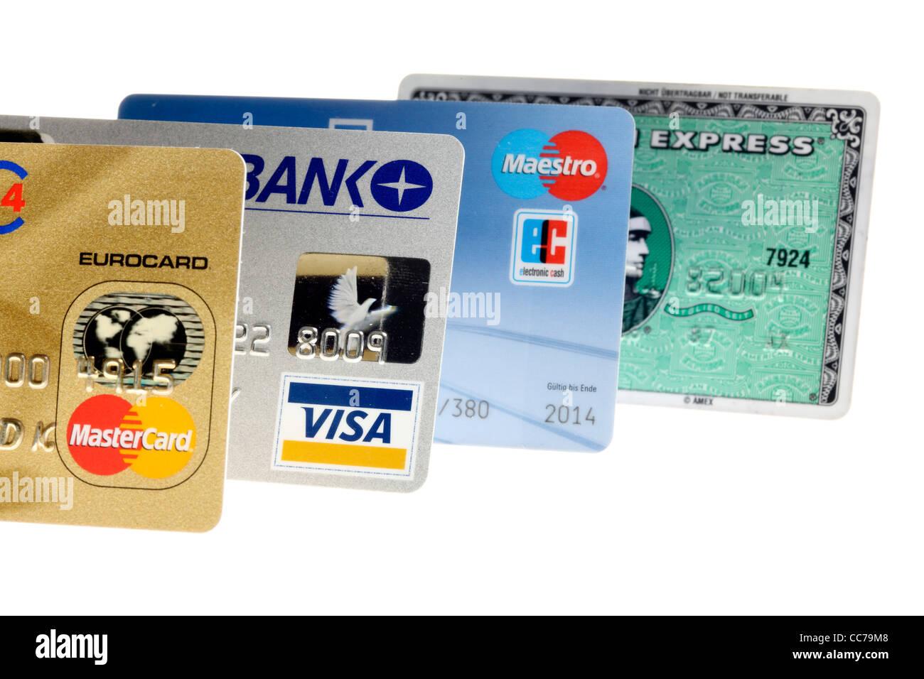 Verschiedene Kreditkarten. Stockfoto