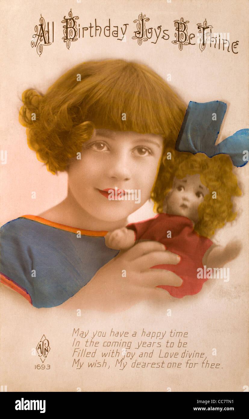 20er Jahre Geburtstagskarte in Form einer Postkarte. Junges