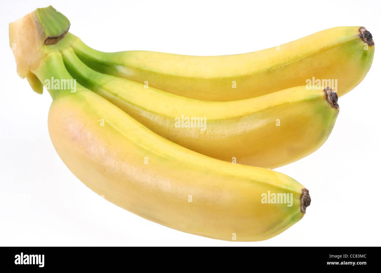 Drei Bananen isoliert auf weißem Hintergrund Stockbild