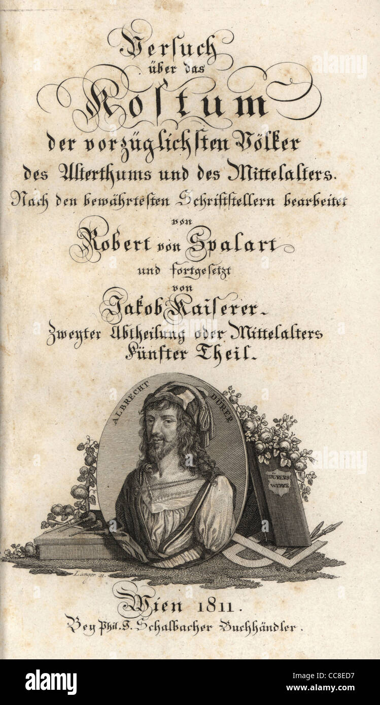 Kalligraphische Titelblatt mit Vignette Porträt von Albrecht Dürer. Stockbild