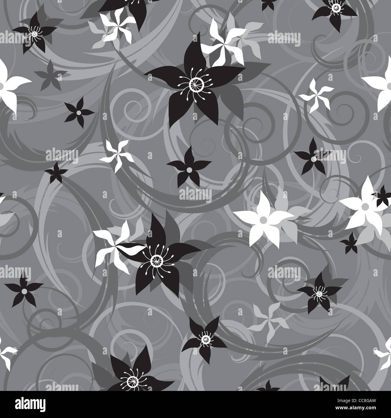 Graustufen nahtlose Muster mit Blumen Stockbild