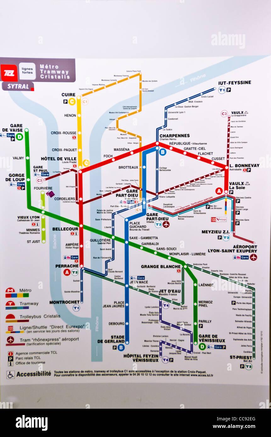 Metro Karte Lyon Frankreich Unesco Weltkulturerbe Stockfoto