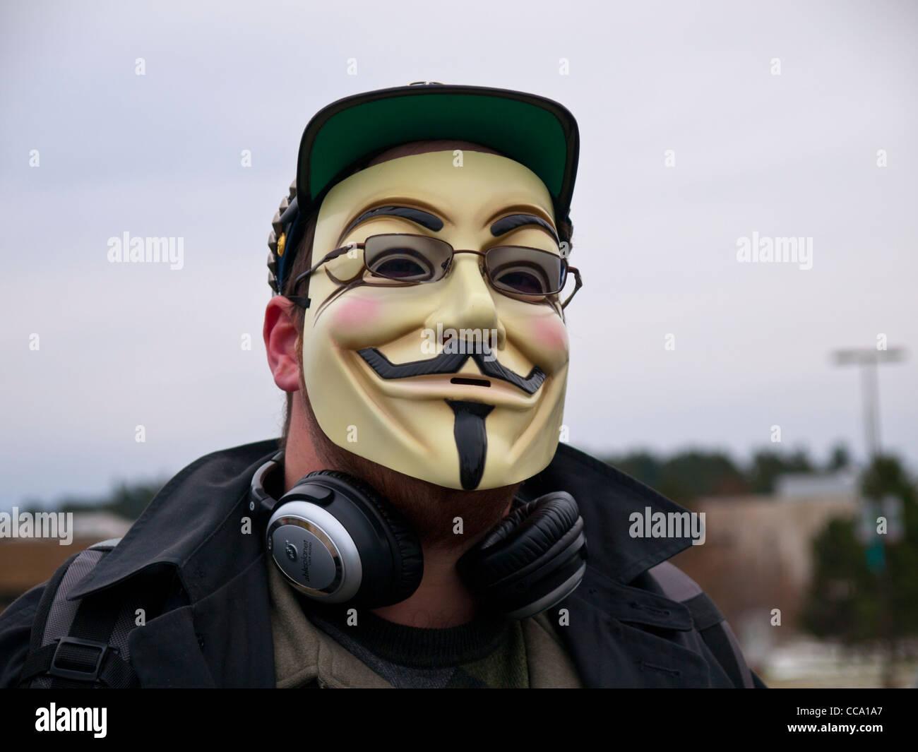Demonstrant auf 16. Januar 2012 zu besetzen Martin Luther King Day in Ann Arbor Michigan USA dieser Mann trägt Stockbild