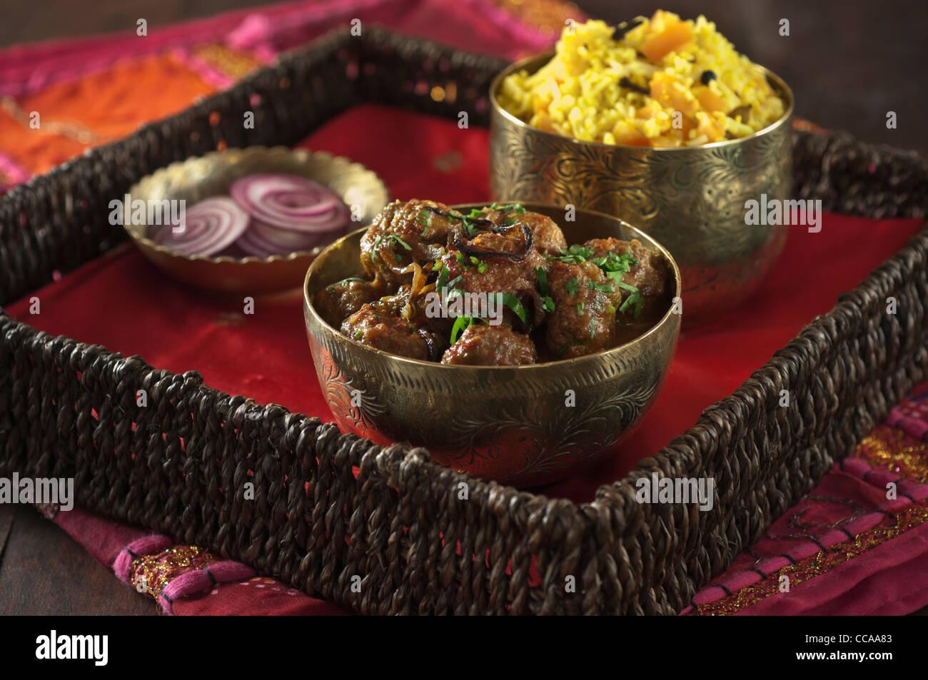 Kofta Curry indisches Essen Stockbild