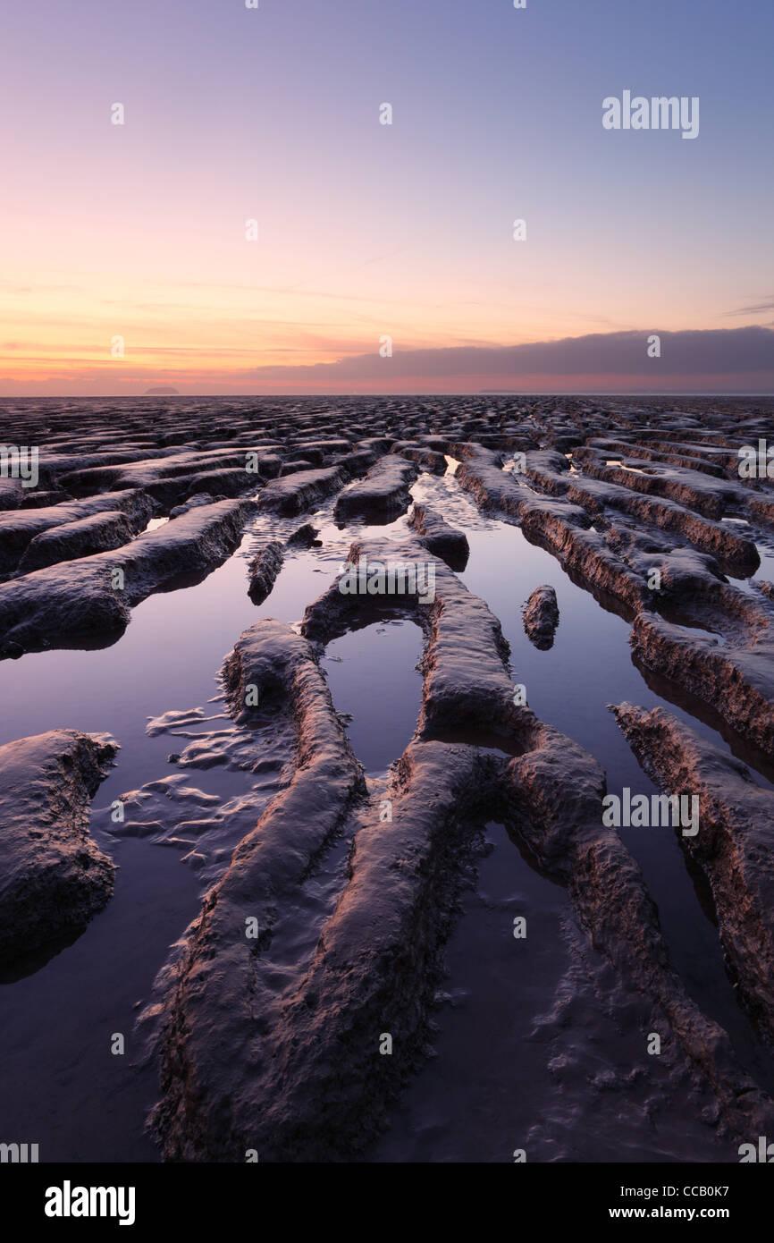 Wattwanderungen im Sand Bay, Weston-super-Mare. Somerset. England. VEREINIGTES KÖNIGREICH. Stockbild