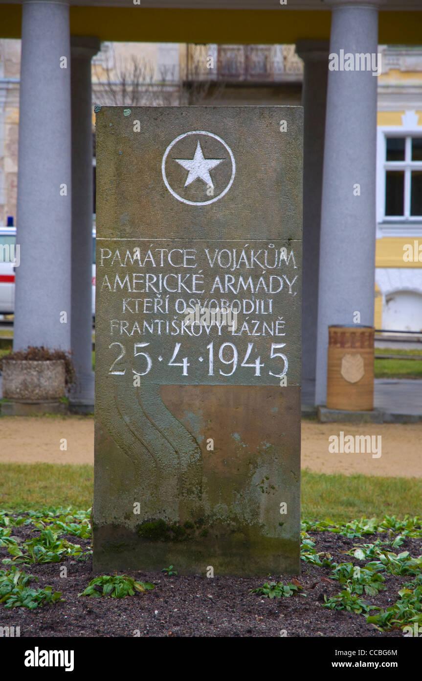 Denkmal für die amerikanischen Truppen, die Frantiskovy Lazne westlichen Böhmen Stadtgebiet Tschechien Stockbild