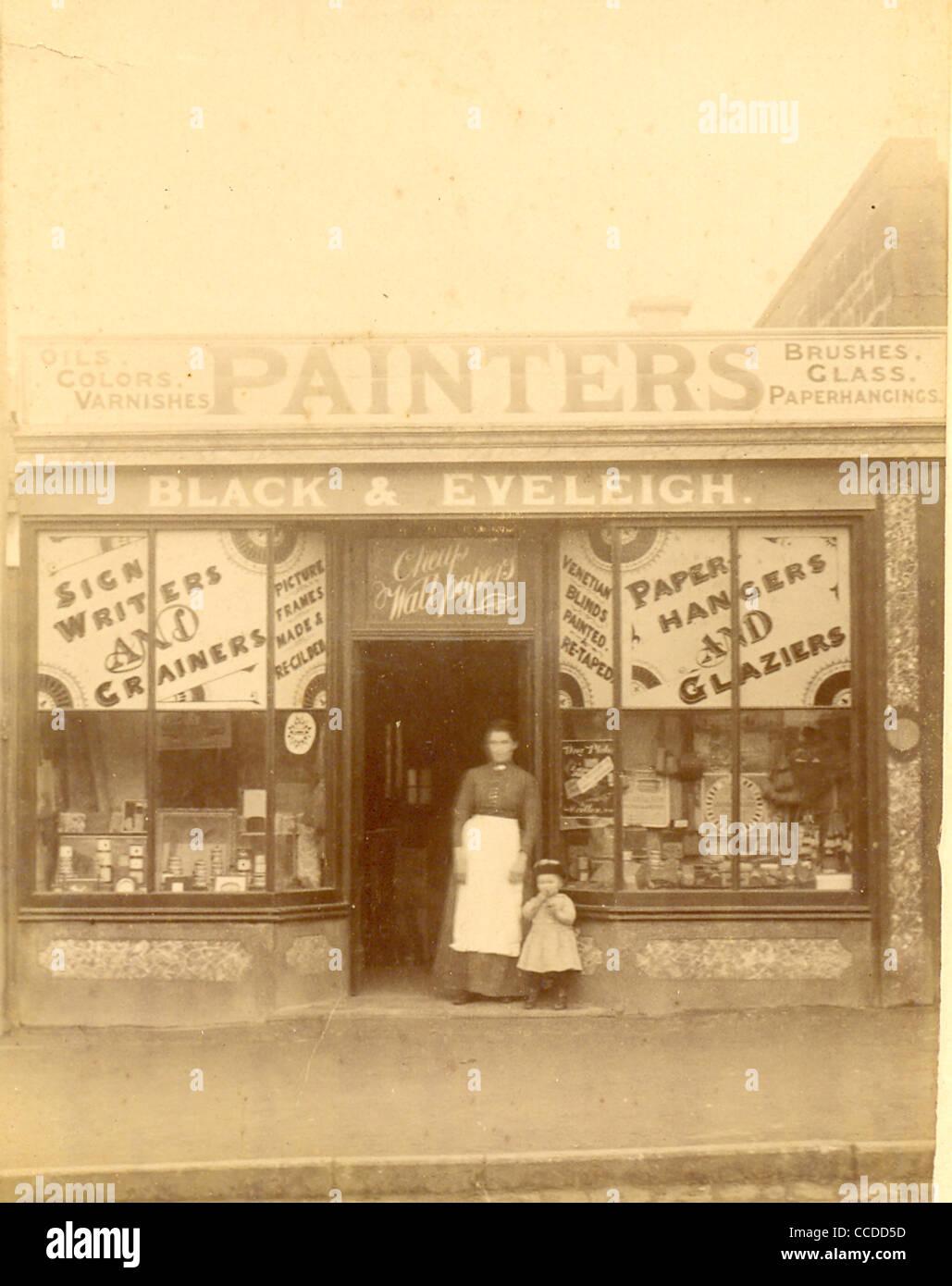 Kabinettfoto des Zeichenschriftstellers und Malershops, Black & Eveleigh um 1895 Stockfoto