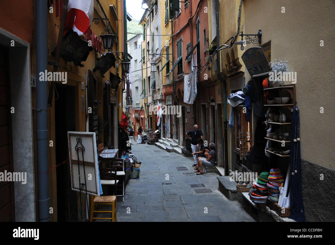 Portovenere, Italien, schmale Backstreet, Stockbild
