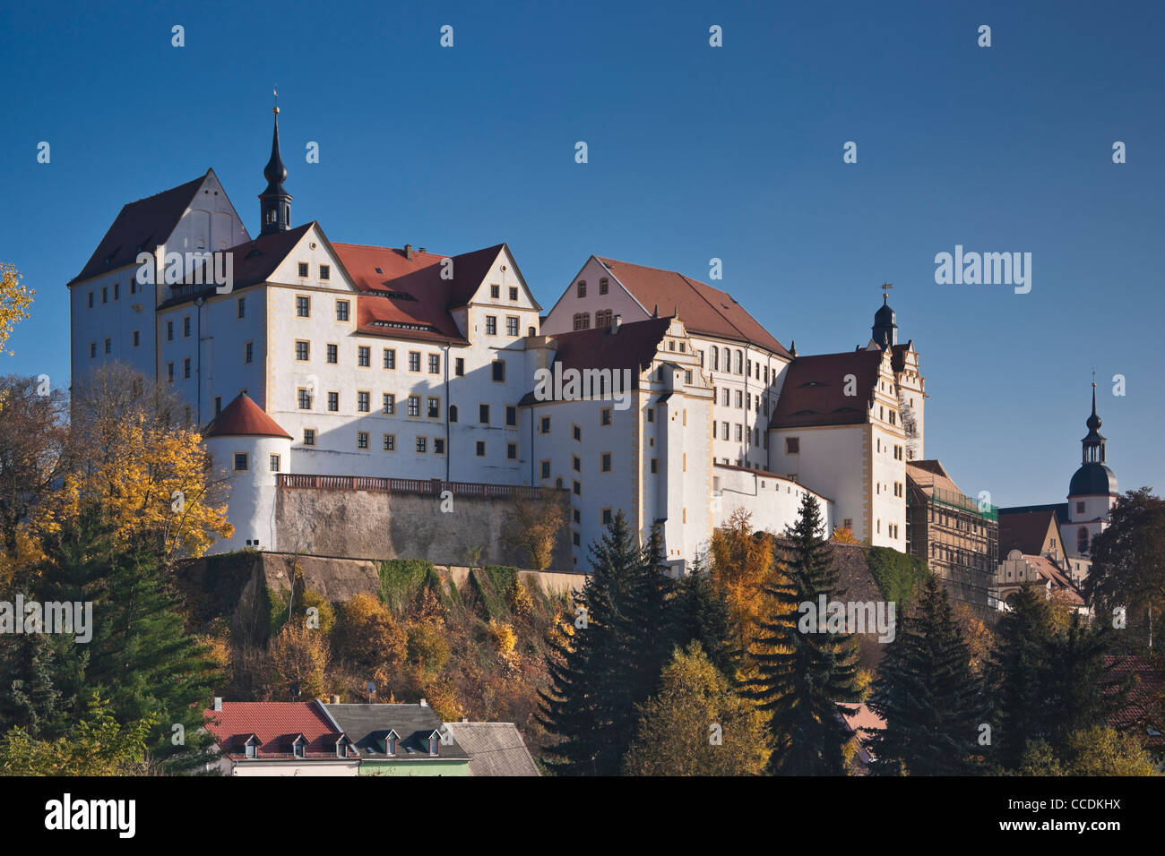 n 1046, erstmals urkundlich erwähnt Schloss Colditz in der Nähe von Leipzig, Sachsen, Deutschland, Europa Stockbild