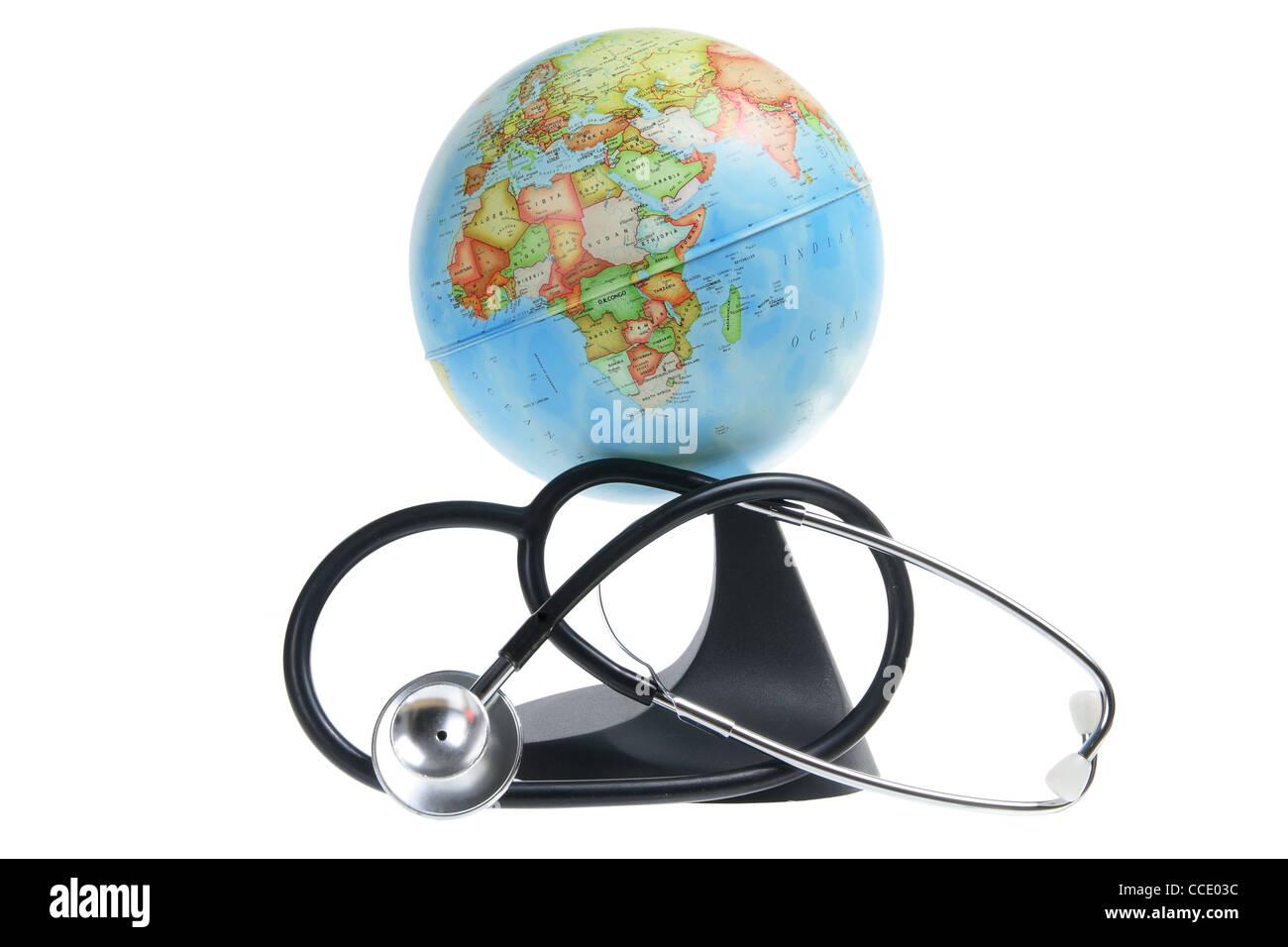 Globus und Stethoskop Stockbild