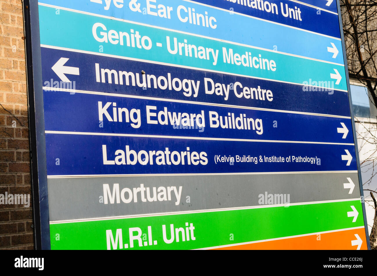 Zeichen in einem Krankenhaus Stockbild