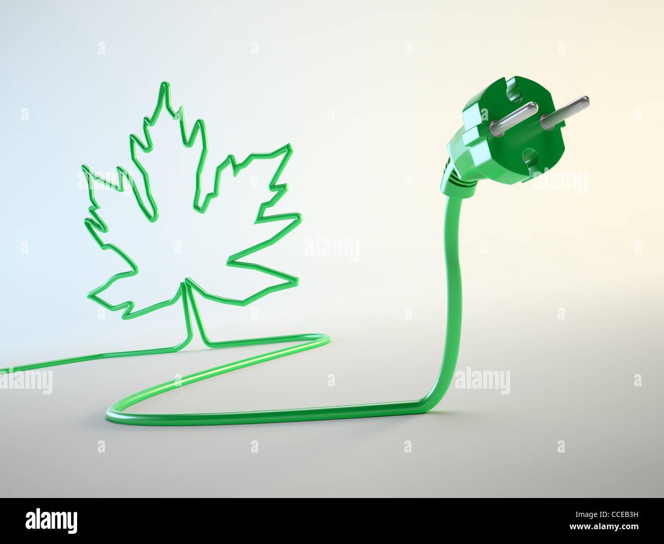 Elektrischer Stecker mit einem Blatt geformt Schnur grüne Energiekonzept Stockbild