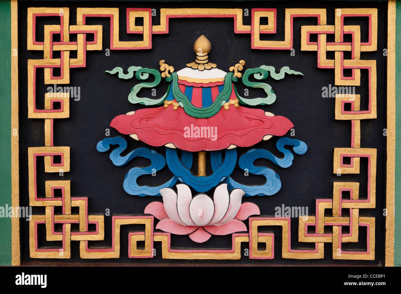 Indien, Arunachal Pradesh, Tawang, Khinmey Nyingma Kloster, Sonnenschirm, Symbol, verheißungsvollen buddhistisches Stockbild