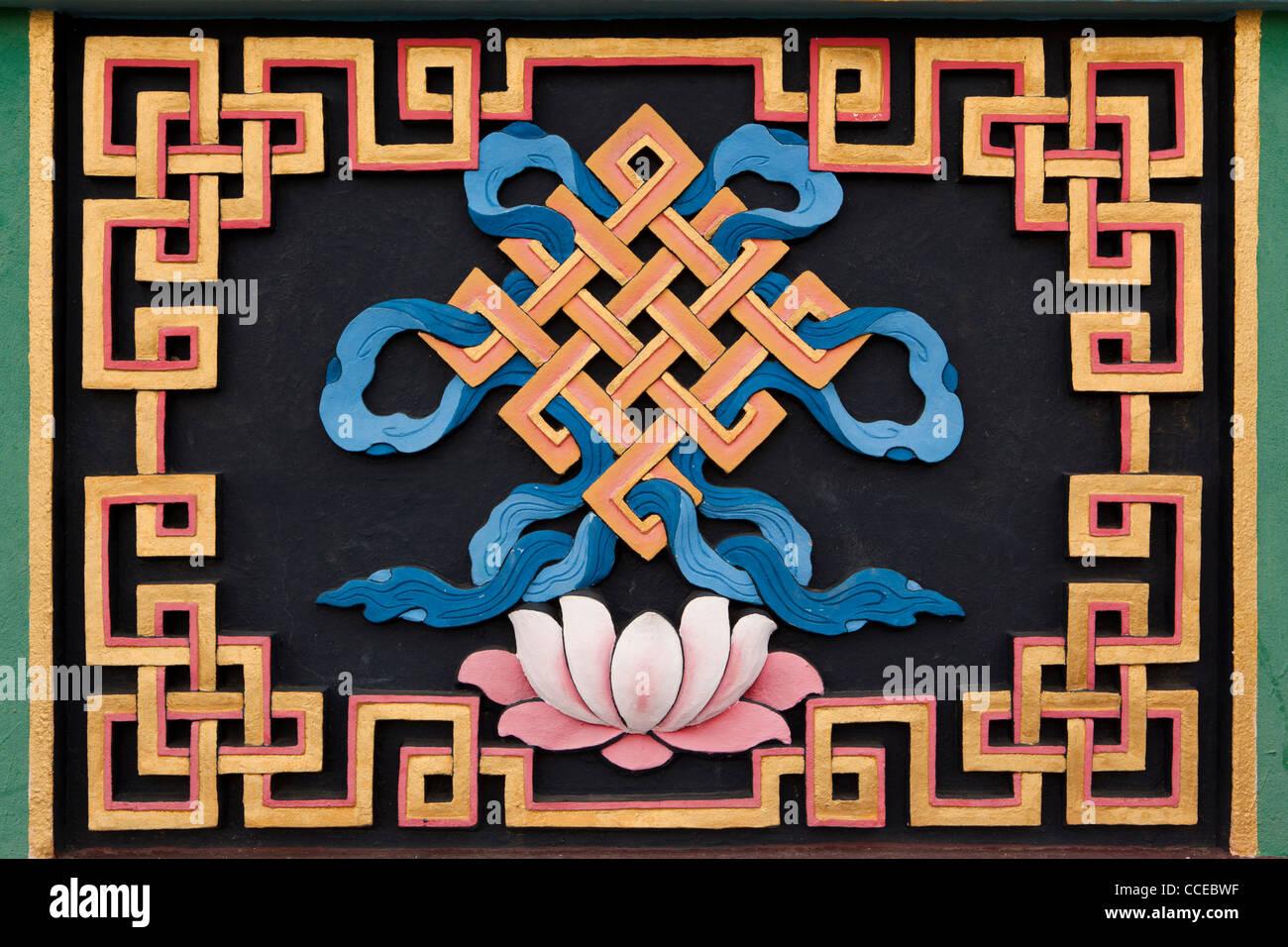 Indien, Arunachal Pradesh, Tawang, Khinmey Nyingma Kloster, Endless Knot, Shivastra, auspicious symbol Stockbild