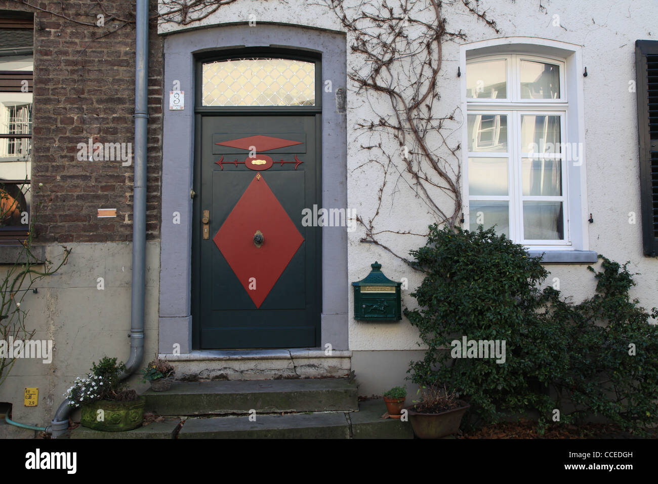 Haustür, Tür, Historisch, historische, Deutschland, Deutschland, Kasettentür, Blau, Rot, Schwarz, Stockbild