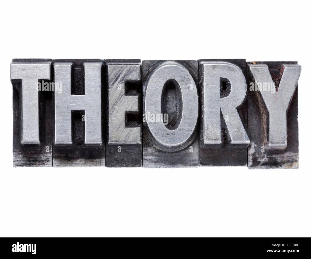 Theorie - isolierte Wort im Grunge Vintage Metall Buchdruck Druckstöcke Stockbild