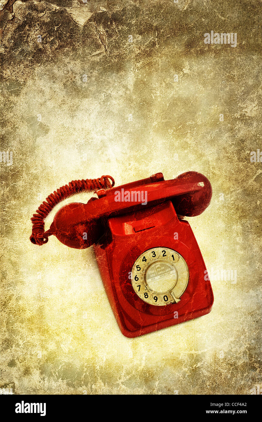 Retro-rotes Telefon Stockbild