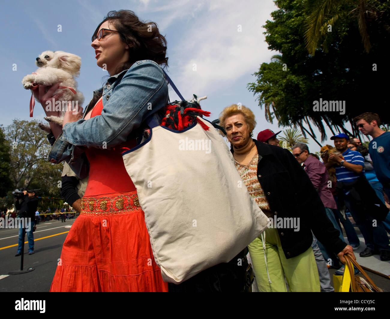 3. April 2010 - Los Angeles, Kalifornien, USA - Haustiere und ihre Besitzer machen ihren Weg an die Front der Linie Stockbild