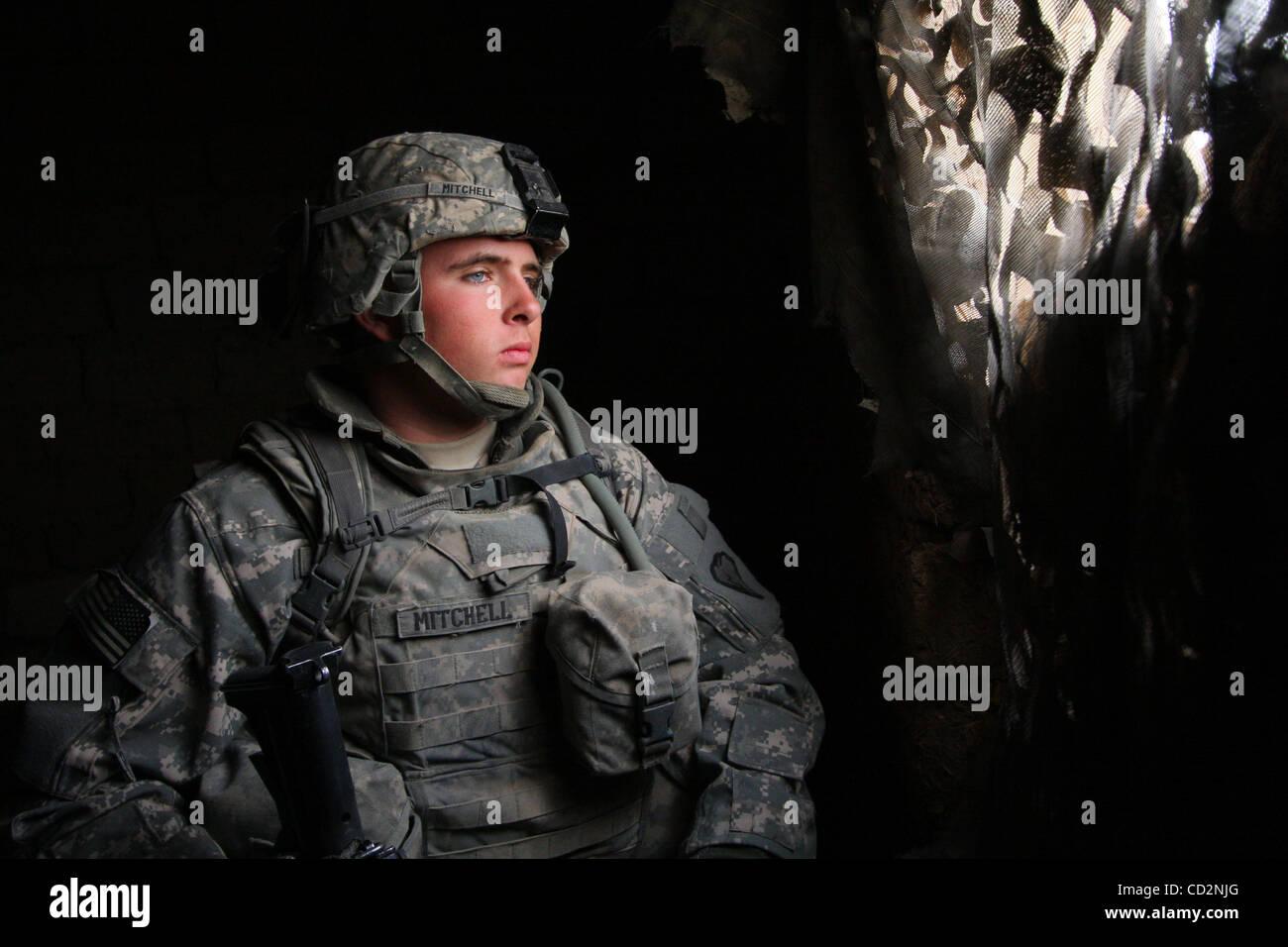 15. März 2008 - Abu Assef, Taji, Irak - Soldaten von Alpha Company, 1. Bataillon 27. Infanterie-Regiment von 2nd Stockfoto