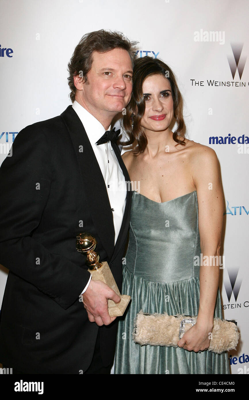 Colin Firth, Frau Livia Giuggioli Weinstein Company Golden Globe Awards After Party - Ankünfte Los Angeles, Stockbild