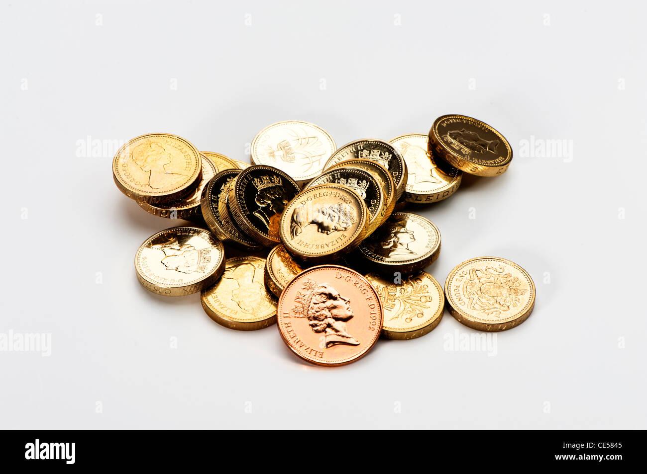 Englische Pfund Münzen Mit Einer 2 Pence Münze Stockfoto Bild