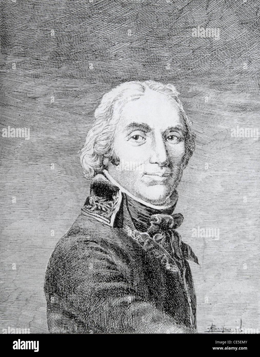 Porträt von Andre Massena, französischer General oder Feldmarschall (1758-1817) während der Revolutions- und Napoleonischen Kriege. Vintage Illustration oder Gravur Stockfoto