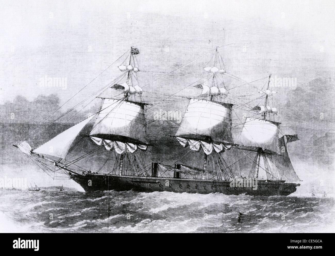 HMS Krieger die erste eiserne, Dampf Kriegsschiff gebaut für die Royal Navy im Jahre 1861 Stockbild