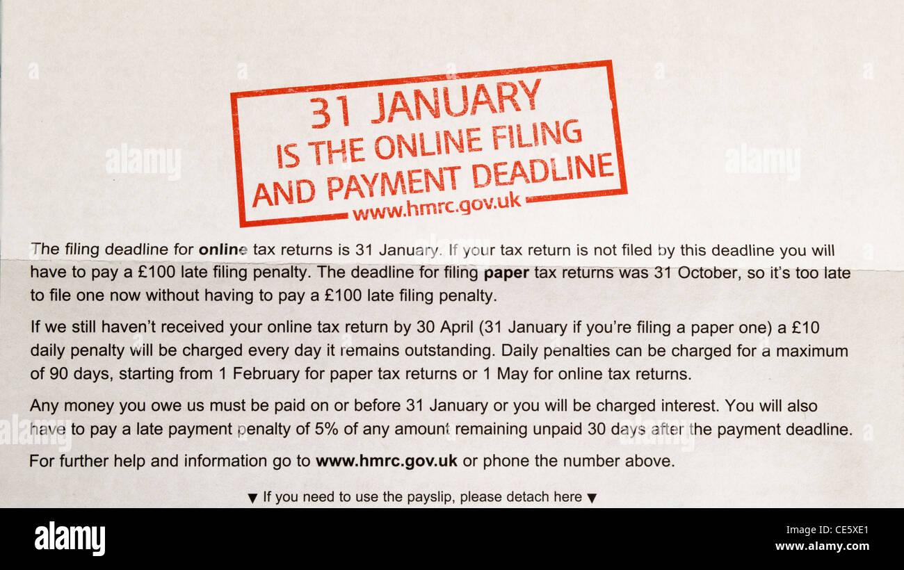 Steuererklärung Mahnschreiben Im Vereinigten Königreich Müssen