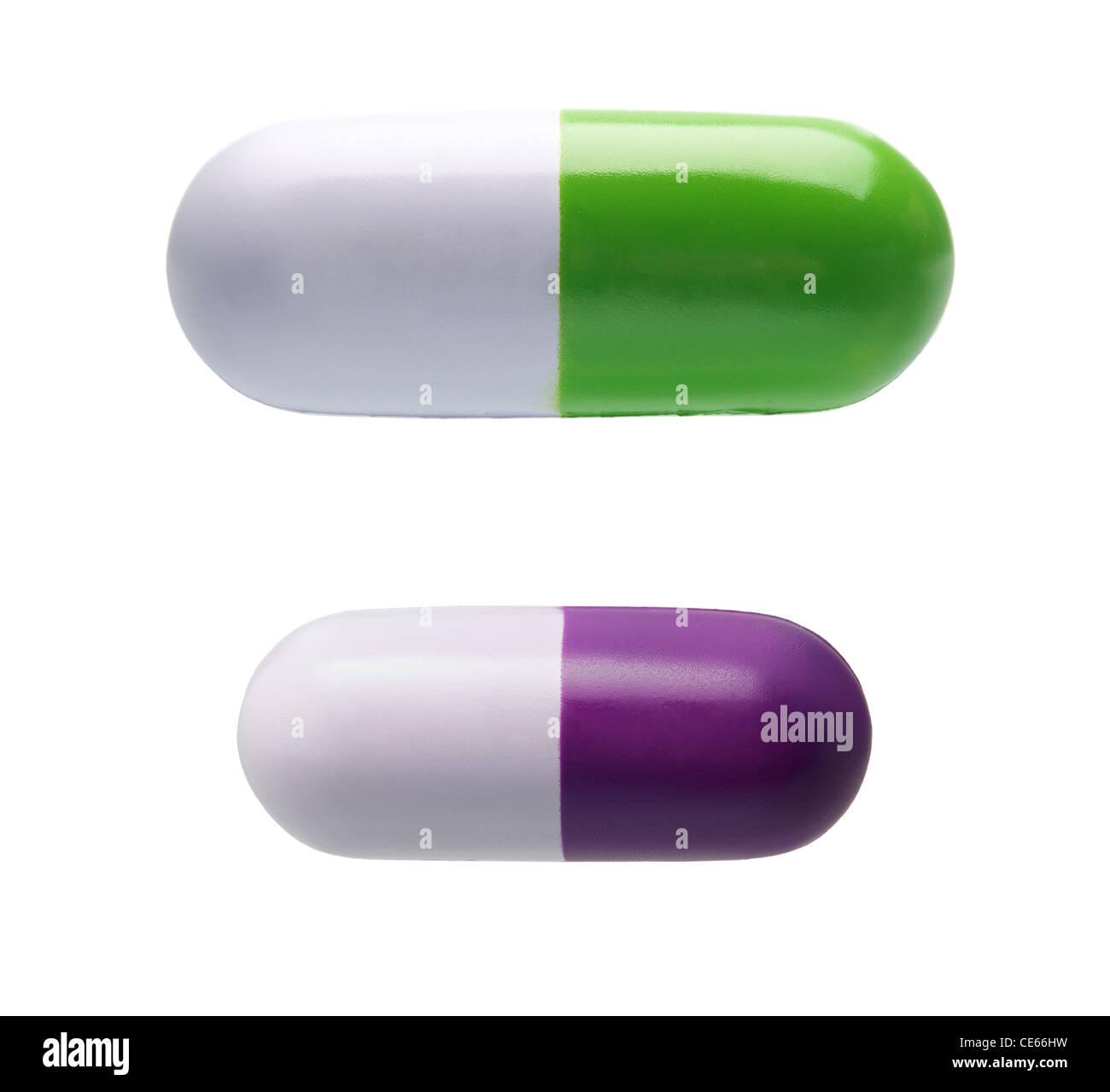 Zwei Pille geformt Anti-Stress-Spielzeug isoliert auf weißem Hintergrund Stockbild